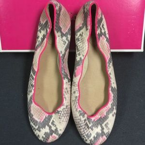Juicy Couture Neon Pink Snake Print Ballet Flats